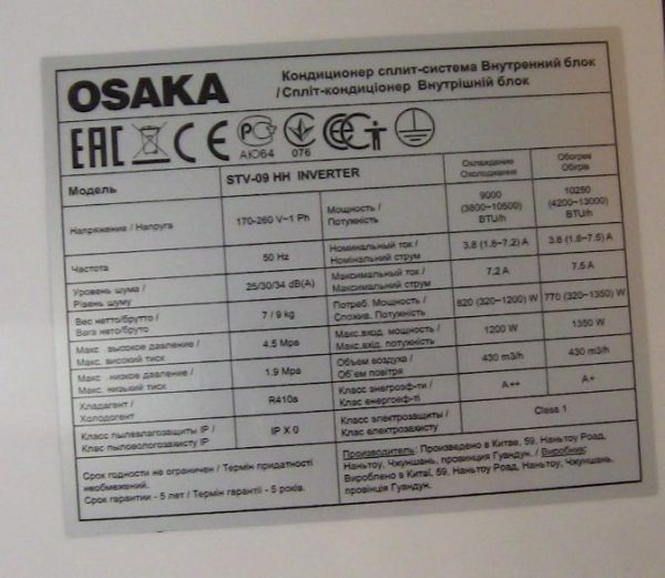 Osaka tekhnichni kharakterystyky