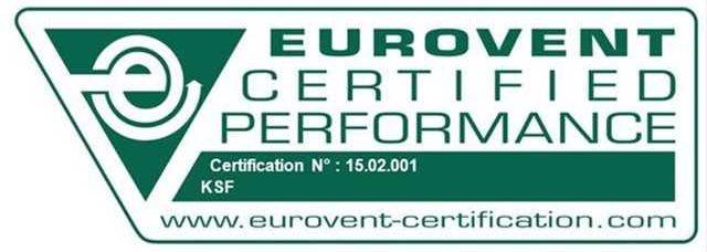 Зображення сертифіката «Eurovent Certified Performance» або ECP